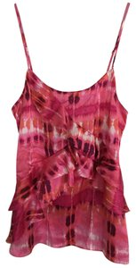 Banana Republic Print Ruffle Silk Top