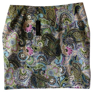 Talbots Paisley Casual Date Night Skirt Dark blue with green pink and turquoise