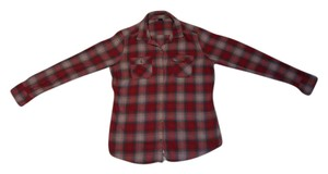 Eddie Bauer Flannel Winter Collared Button Down Shirt Red