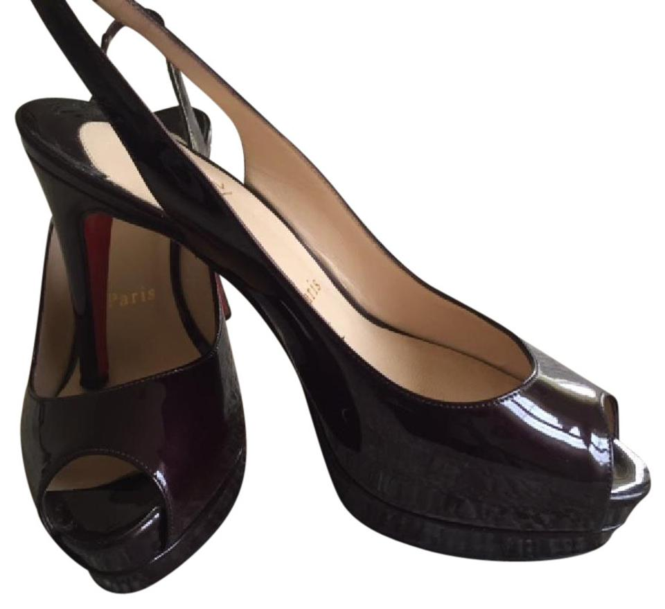 hot sales 94358 26f97 Christian Louboutin Burgundy Patent Leather Open Toe Platform Slingback  Pumps Size EU 35.5 (Approx. US 5.5) Narrow (Aa, N) 77% off retail