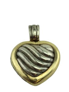 David Yurman Sterling Silver 18k Gold Sculpted Cable Heart Locket
