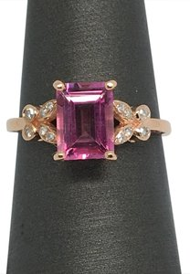 Other 14K Rose Gold Emerald Cut Pink Topaz and Diamond Ring