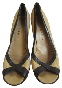Céline Leather Beige with Brown Pumps
