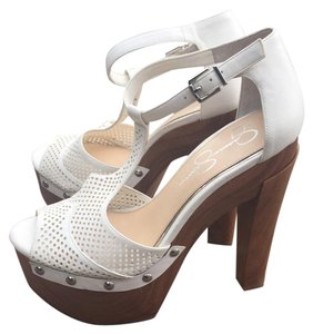 Jessica Simpson White and Wood Platforms
