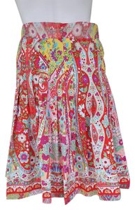 Gianni Bini Colorful Floral Pleated Pull-on Skirt Multi-color