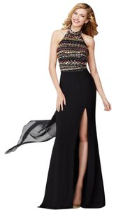 Jovani Prom Evening Bling Slit Front Halter Dress