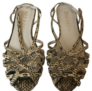 Delman Snake Embossed Snake Wedge beige Sandals