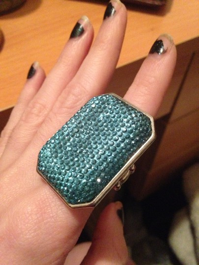 Other Statement Teal Blue Sparkly Rhinestone Cocktail Ring