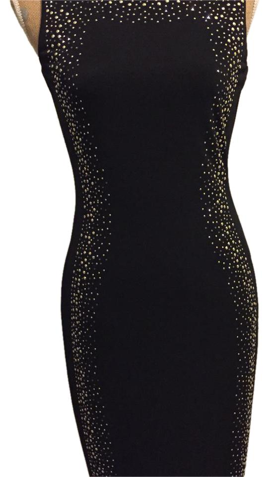 Calvin Klein Black Studded Night Out Mid Length Cocktail Dress Size