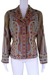 Coldwater Creek Embroidered Cotton Petite Brown Jacket