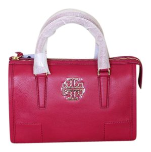 Tory Burch Leather Gold Hardware Crossbody Tote Satchel in Raspberry