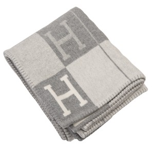 Hermès Hermes New Classic Avalon Ecru and Light Grey Blanket