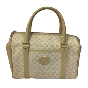 Gucci Monogram Leather Vintage Logo Satchel in BEIGE/ CREAM