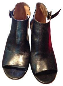 Maison Margiela Open Toe Leather Flat Heel Black Boots