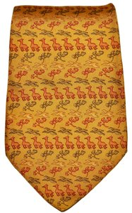 Salvatore Ferragamo Salvatore Ferragamo Yellow Animal & Bird Pattern All Silk Designer Necktie Tie Made In Italy Authentic