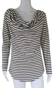Amour Vert Striped Draped Neckline Long Sleeves T Shirt Black Ivory
