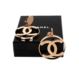 Chanel Chanel Vintage Earrings CC Dangle Hoop 1960's Massive