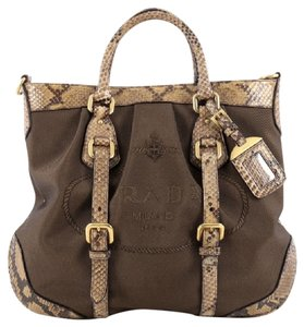 Prada Canvas Python Satchel in Brown