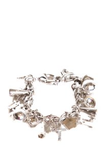 Versace Silver Chain Link Bracelet With Charms Throughout