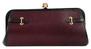 Alexander McQueen Leather Burgundy and Black Clutch