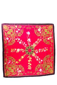 Hermès Arabesques Red Silk Scarf With Rolled Edge
