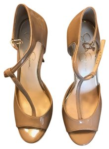 Jessica Simpson Platform Stiletto Sleek Leather Nude Pumps