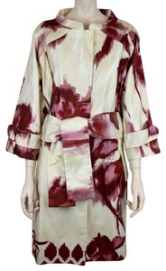 6267 Silk Trench Belted Abstract Trench Coat