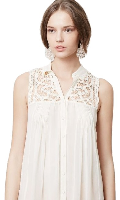 Preload https://item1.tradesy.com/images/blue-tassel-ivory-off-white-laced-and-ruched-tunic-button-down-top-size-8-m-2085960-0-0.jpg?width=400&height=650