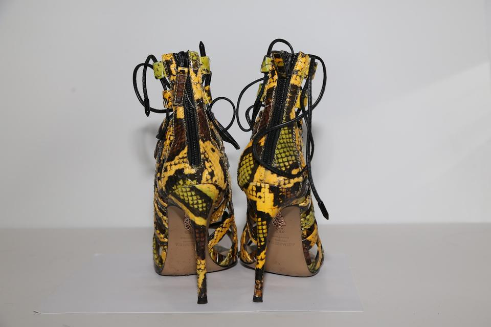 4acfdceca32b7 Aquazzura Multicolor Amazon Sankeskin Leather Lace Up Strappy Heels Sandals  Size US 8.5 Regular (M, B)