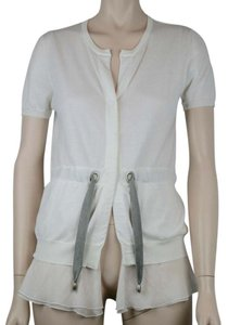 Brunello Cucinelli Cotton Silk Buttons Layers Top WHITE