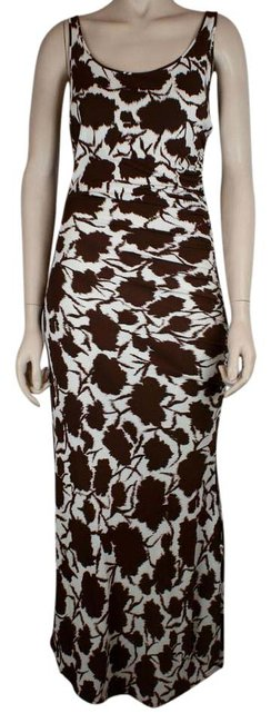 Item - Brown White And Floral Gathered On One Long Casual Maxi Dress Size 4 (S)