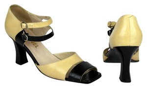 Chanel Ankle Strap Open Toe Mary Jane BLACK IVORY CREAM Pumps