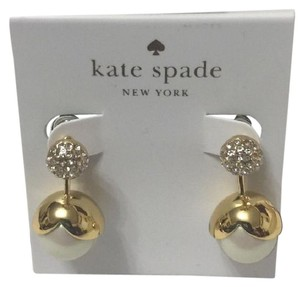 Kate Spade Pretty Pearly Gold And Pearl Earrings