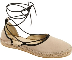 Free People Leather Upper Laces Crisscross Natural Suede Flats