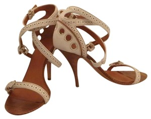 Givenchy Leather Strappy White and Tan Sandals