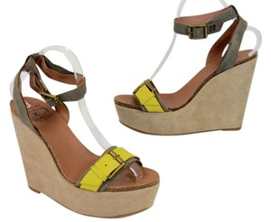 Lucky Brand beige and yellow Wedges
