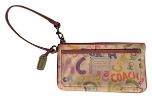 Coach Wristlet in White with Multicolor Print