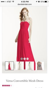 David's Bridal Cherry Red Versa Convertible Mesh Dress Dress
