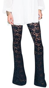 Show Me Your Mumu Boho Lace Stretchy Chic Bam Bam Bells Festival Lounge Lace Midnight Flare Pants Blue