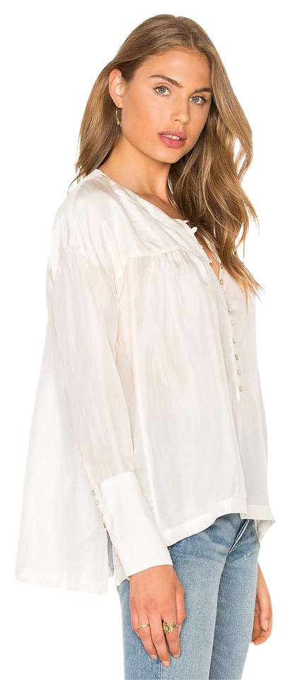 6620f29a2 Free People Cream L New Silk Poet Blouse Oversize Tiny Button Cuffs Button- down Top