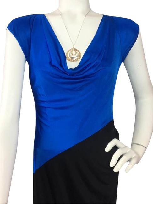 Item - Black/Blue Cap Sleeve Ruched Draped Neck Two Tone Mid-length Night Out Dress Size 4 (S)
