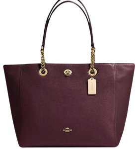 Coach Tote in Light gold/Oxblood
