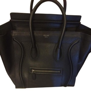 Céline Pebble Satchel in Black