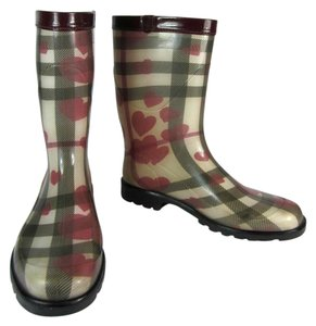 Burberry Leather Rain Mid Red Nova Boots