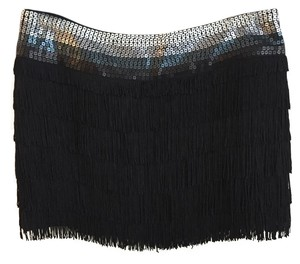 bebe Fringe Hem Sequin Mini Skirt Black