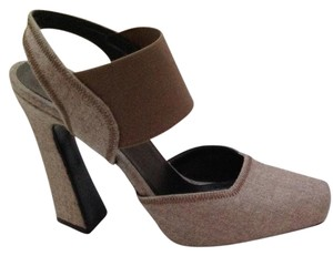 Donna Karan Wool Mary Jane Heels Italy Taupe Pumps