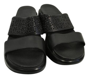 Dansko Pattern Black leather with see through floral strap leather lining padded insoles E41 Sandals