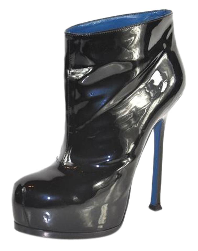 5d51c58c88b2 Saint Laurent Black Tribute Yves Two Patent Leather Boots/Booties ...