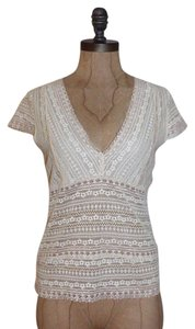 Banana Republic Sparkle Stretchy Cap Sleeve Lace Top IVORY