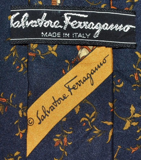 Salvatore Ferragamo Salvatore Ferragamo Navy Blue Violinist Pattern All Silk Designer Necktie Tie Made In Italy Authentic